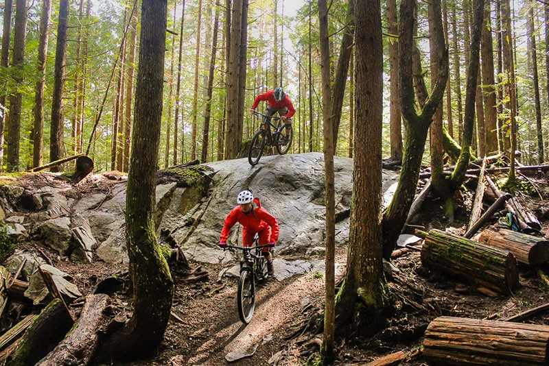 Squamish Guided Rides on a rock roll on the Rupert trail